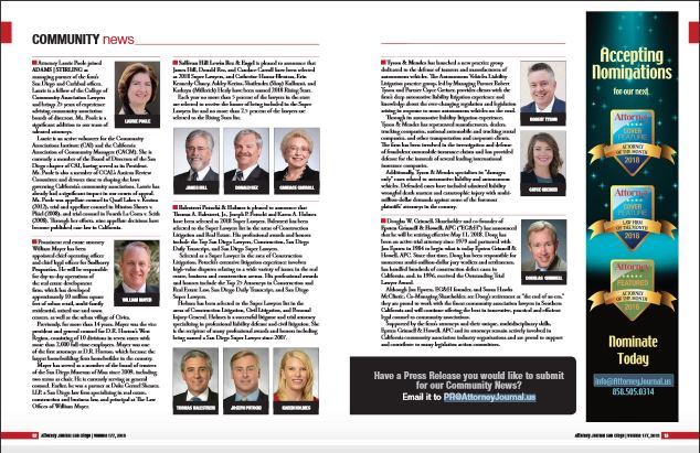 Adams Stirling Partner Laurie Poole is featured first on page in Community News for San Diego Attorney magazine