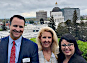 Partner Nathan McGuire, with Marketing Director Sue Anderson and Client Relations Director and Administrator, Northern California Melina Drazich, at Leg Day 2019 on 4-8-19