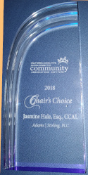 Partner Jasmine Hale receives honor of 2018 CLAC Executive Committee Chair's Choice Award on 4-9-19.
