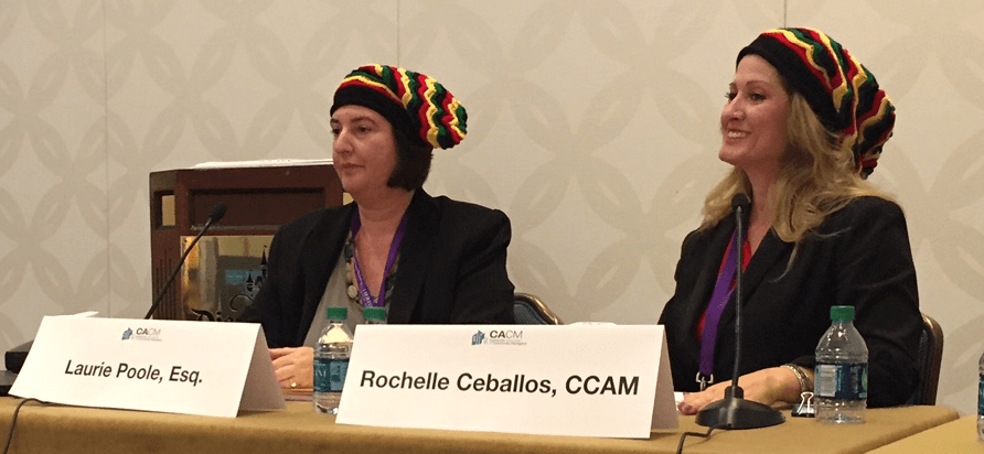 Adams Stirling Partner Laurie Poole and Rochelle Ceballos, CCAM have some fun with a serious topic at CACM Expo 2018