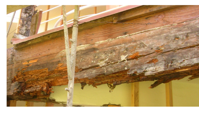 Balcony dry rot for Davis-Stirling inspections.